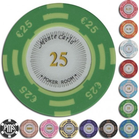 Fiches / Chips Poker MONTECARLO 25 euro Green
