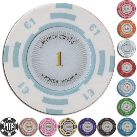 Fiches / Chips Poker MONTECARLO 1 euro White