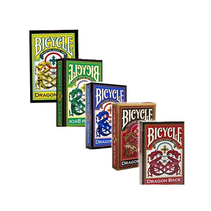 Collectible Card Bicycle Dragon Back Red Blue Yellow Green And Gold