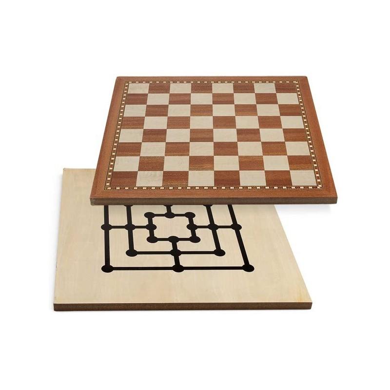 SCACCHIERA IN NOCE INTARSIATA CON CONTENITORE 40X40----------------------scacchi