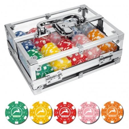 BOX ALLUMINIO TRASPARENTE 200 Chips 14g Texas Hold'em Modiano