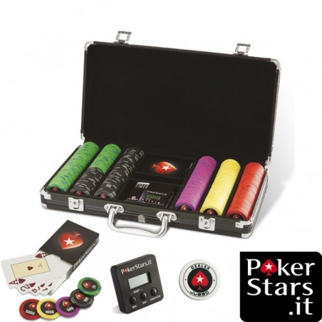 Set da 300 Fiches in ABS con Valigetta PokerStars.it + Carte + Timer + Button