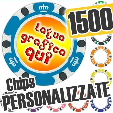 Set 1500 Fiches Chips mod. CROWN Personalizzate